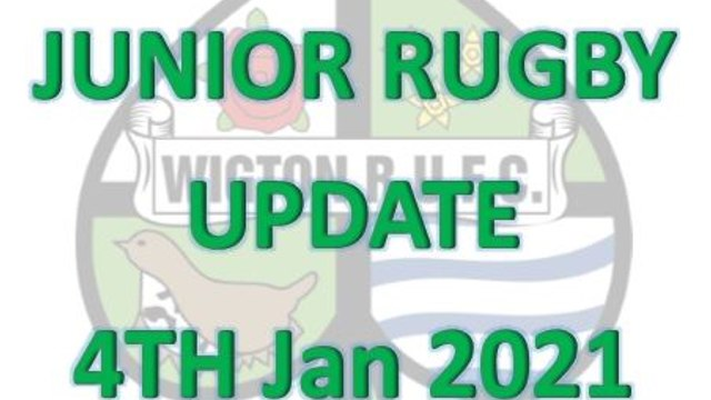 Junior Training Update - 4th Jan 2021