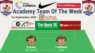 Academy Team of the Week - Sunday 1st September 2019
