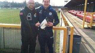 Aaron receiving his Reydon Ryman North safe hands goalkeeper award for December!