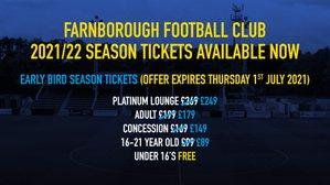 2021/22 Season Tickets