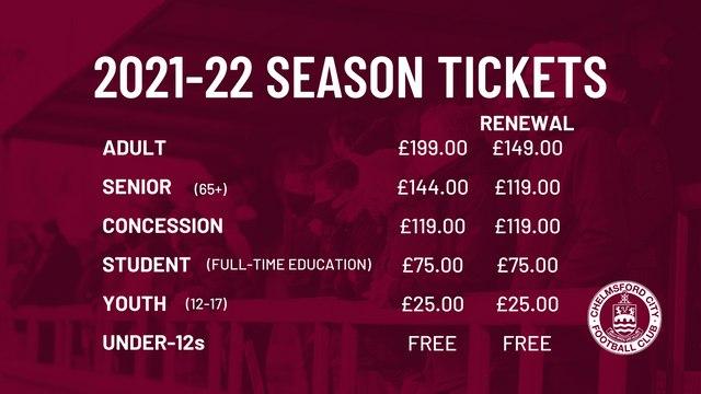2021/22 Season Tickets now on sale