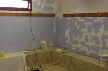 The away team dressing room during refurbishment in January 2013