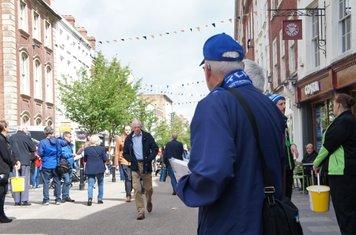 Ken handing out leaflets