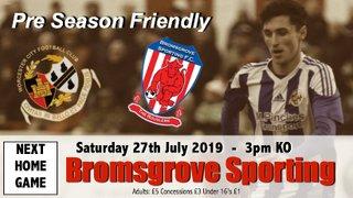 Pre-Season Friendly - City v Bromsgrove Sporting