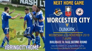 NEXT HOME GAME - FA VASE SECOND ROUND v DUNKIRK