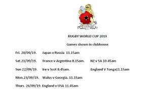 RWC Schedule at Hungerford RFC
