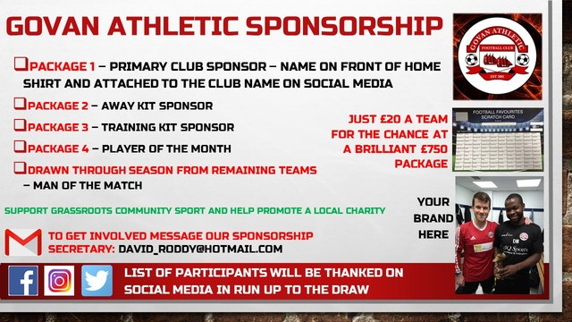 Govan Sponsorship Football Card