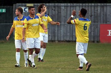 Samir Bihmoutine celebrates his goal with Nathan Livings, Billy Crook and Harry Ottaway