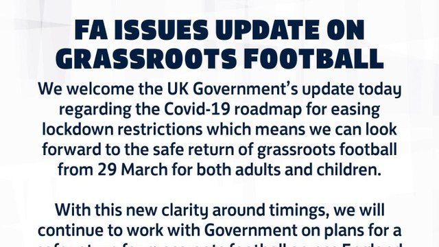 Football to return on the 29th March