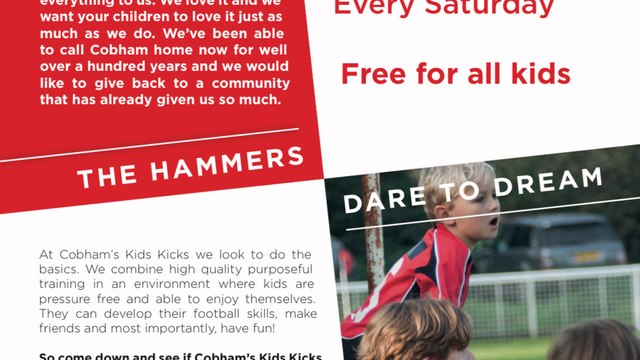 Kids Kicks - Free sessions on Saturday mornings for 4-6 year old girls and boys