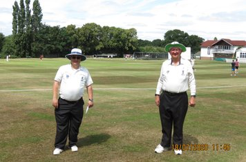 Today's umpires Steve Maguire (left) Ian 'Wildy' Turner (right)