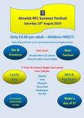 Alnwick RFC Summer Festival Saturday 10th August