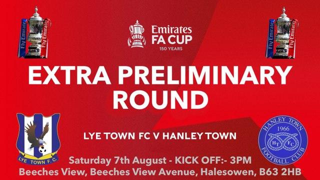 UPDATE REGARDING FA CUP TIE VERSUS HANLEY TOWN