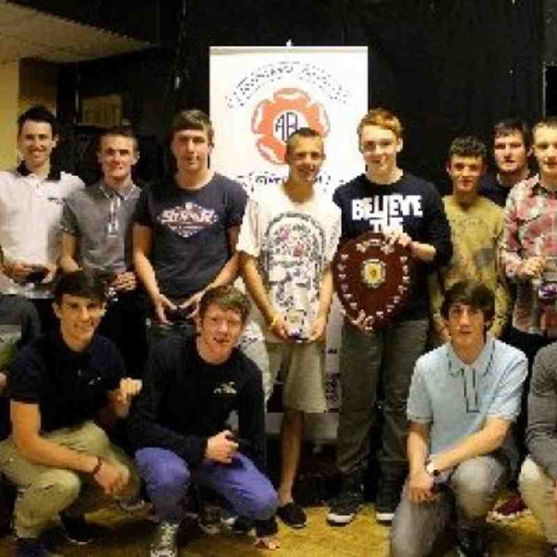 Atherton Town Youth team collect their awards on winning the South Lancs Under 17,s League @ Goose Green Labour Club