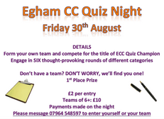 Quiz Night - Friday 30th August - 7.30pm