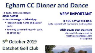 Dinner & Dance - 5th October - TICKETS AVAILABLE NOW