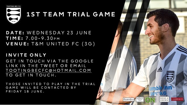 1st team Trial date for 2021/22 season
