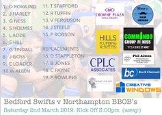 Swifts XV vs Northampton BBOBs