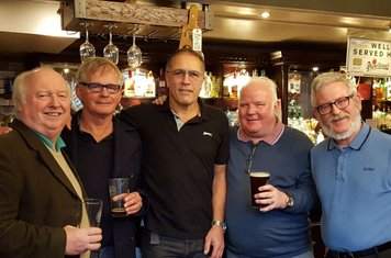 John Hickey, Joe Murphy, Len Hatton, Tom O'Dee and Stephen Schwenk enjoying a beer in the Cambridge Arms, Strand. Any of the class of '65 interested in joing us for our next meet-up? We started about 2 years ago and have met 3 or 4 times a year since. It'