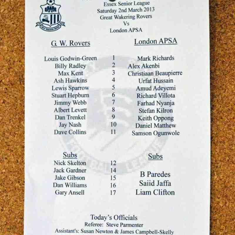 Rovers 4  London APSA 1 - 2/3/13