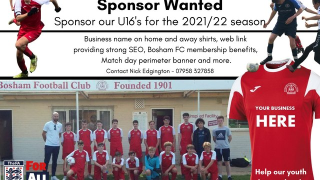 Under 16s Sponsor Wanted