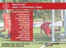 Squad News for away fixture v Worthing Town