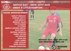 Squad for Bank Holiday Monday fixture