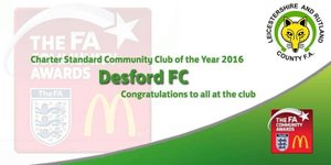 Desford FC named Charter Standard Community club of the year 2016 !!