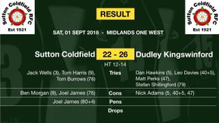Match report - 1st Sep 2018