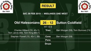 Match report - 9th Feb 2019