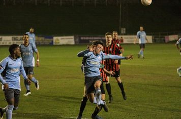 Enfield's Joe Stevens, making his 100th appearance for the first team