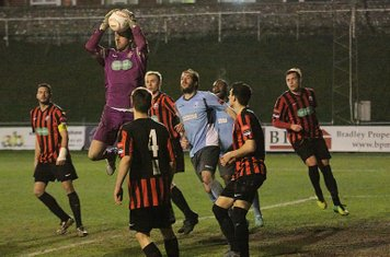 Lewes keeper Rikki Banks collects a cross