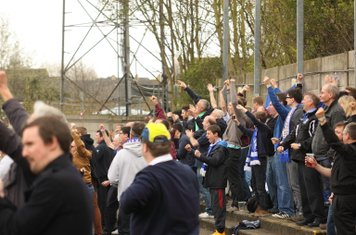 Enfield supporters celebrate Nathan Livings' goal