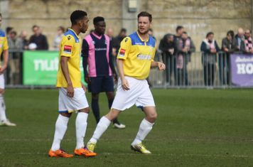 Enfield's Liam Hope (R) was a second half substitute for his 250th first team appearance