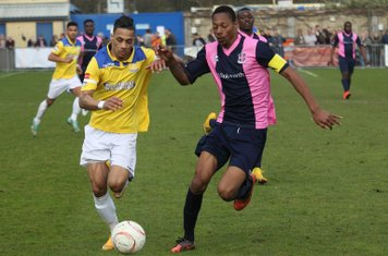 Enfield's Corey Whitely (L) and Dulwich's Ethan Pinnock