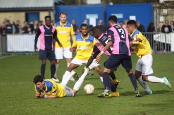 Enfield's Claudiu Vilcu (L), Dernell Wynter and Nathan Livings and Dulwich's Jordan Hibbert and Frazer Shaw (3)