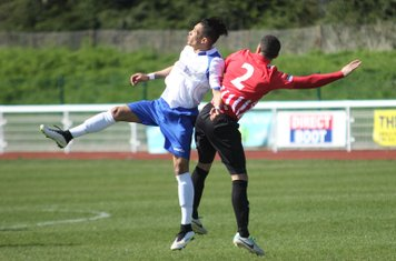 Enfield's Corey Whitely (L) and Hornchurch's Danny Woodards