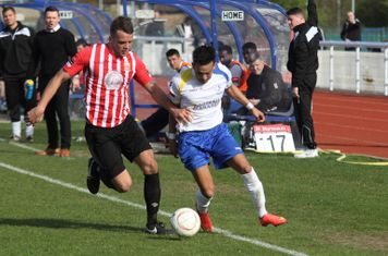 Hornchurch's Danny Johnson (L) and Enfield's Tyler Campbell