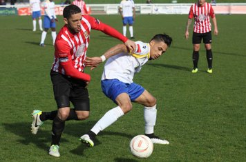Hornchurch's Danny Woodards (L) and Enfield's Corey Whitely
