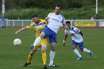 Enfield's Joe Ellul (L) and Witham's Chris Bryan