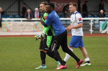 Enfield keeper Nathan McDonald, his deputy Anthony Page and Jordan Lockie
