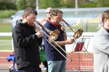 The pre-match and half-time enmtertainment was provided by the North London Brass Band