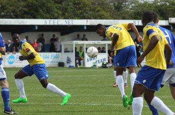 Enfield's Jandir da Cruz heads the ball on at a set piece