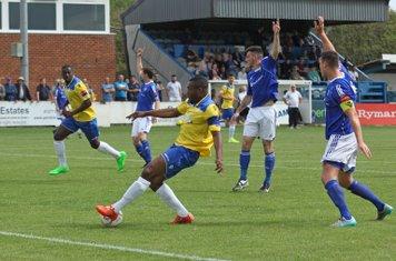 Billericay appeal for offside against Enfield's Stanley Muguo