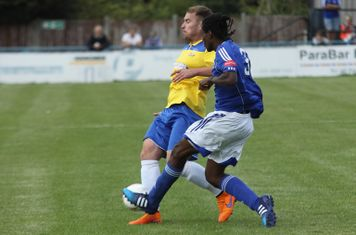 Enfield's Jordan Lockie (L) and Billericay's Alex Stephenson