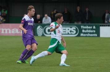 Enfield's Mickey Parcell (L) and Bognor's Stuart Green