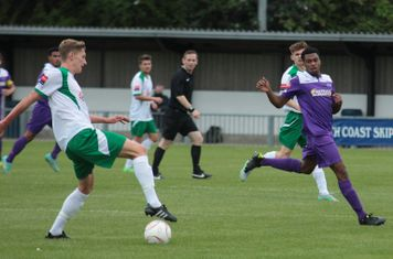 Bognor's Chad Field (L) and Enfield's Dernell Wynter