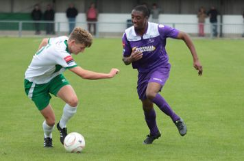 Bognor's Chad Field (L) and Enfield's Ricky Gabriel