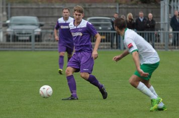 Enfield's Connor Witherspoon (L) and Bognor's Gary Charman