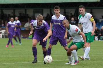 Enfield's Connnor Witherspoon (L) and Ryan Doyle and Bognor's Sami El-Abd